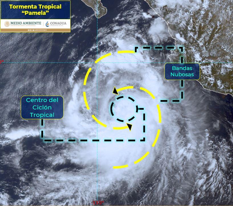 """PAM2 - """"Pamela"""" se fortalece y esta noche será huracán; piden tener cuidado"""